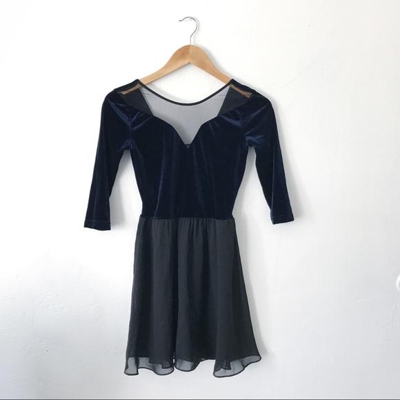 efb8fd96ff17 H&M Dresses | Velvet Blue Skater Dress | Poshmark